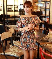 Korean Original Brand High Class Wine Red Floral Printed Sexy Wrap Boat Neck Dress