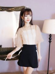 Two Pieces Blouse With Bandage Skirt Suits