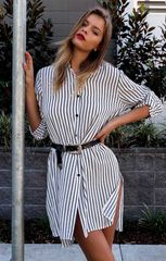 New Design Striped Loose Boyfriend Shirt Dress