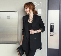 Autumn Clothing Solid Bodycon Blazer Black Coats