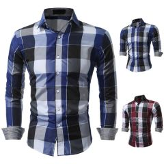 Casual Men Plaid Long Sleeve Shirts