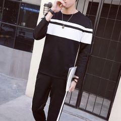 Color Block Pullover Hoodies Pocket Long Pants