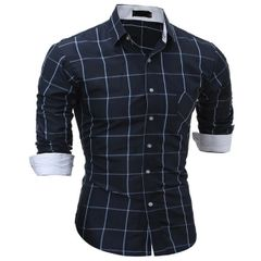 Hot Sale Check Long Sleeve Dress Shirts for Men