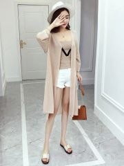 Stylish Knitting Camisole With Long Sleeve Cardigan Sets