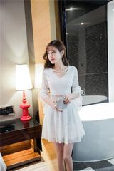 Korean New Flare Sleeve Pierced Lace Dress
