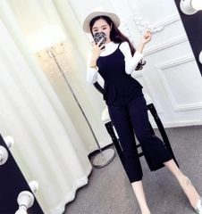 Korean Two Pieces Sets Long Sleeve Top With Black Jumpsuit