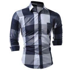 Fashion Check Turn Down Collar Men Shirts
