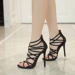 Stylish Hollow Cross Belt Diamonds Stiletto Sandals
