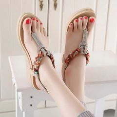 Bohemian Style Toe Post Diamond Casual Sandal
