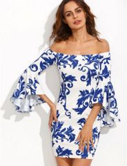 Hot Sale Stylish Prints Off Shoulder Dress