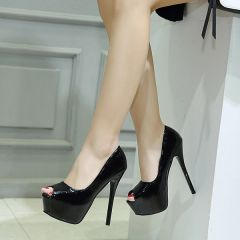 Peep Toe Solid Platform Stiletto Pumps
