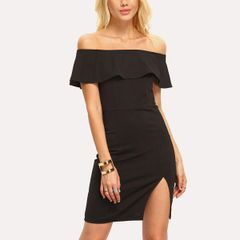 Outlet Black Off The Shoulder Slit Dress