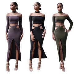 Sexy Boat Neck Cropped Tops With Split Hollow Out Wrap Skirt