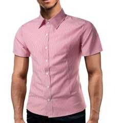 Stripe Printing Single Breasted Business Men Shirts