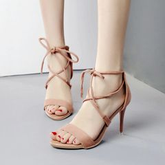 Stylish Lace Up Open Toe Stiletto Sandals