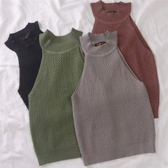 Korean Chic Style Sleeveless Knit Tanks
