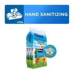 Kleenex Protect Hand Sanitizing Moist Wipes 3 x 10 per pack