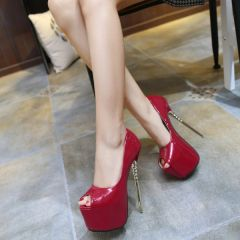 Super High Heel Peep Toe Sexy Platform Fashion Pump