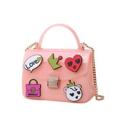 Korean New Cartoon Print Hasp Square Shoulder Bag
