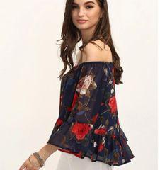 Chiffon Flare Sleeve Chiffon Floral Blouse Design