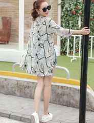 Stylish Print Md-Long Beach Sun Proof Chiffon Cardigan