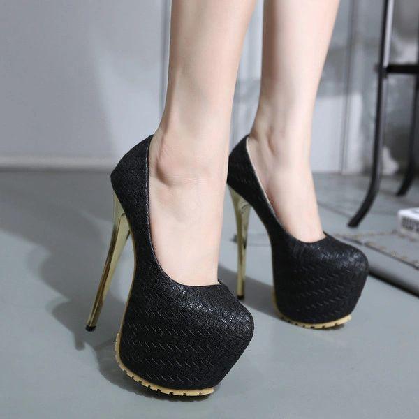 25649bba5de2 Size 34-40 Super High Heel Weave Platform Pump