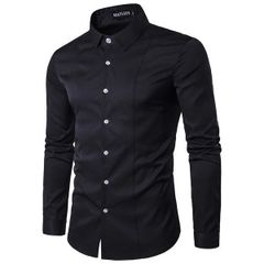 Casual Solid Turndown Collar Men Shirt