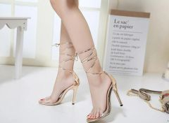 Bandage Transparent Girls High Heel Sandals