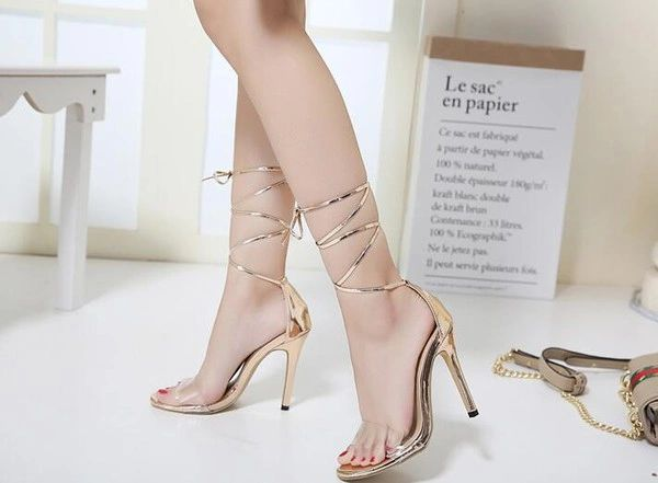 ee3efdc454a Bandage Transparent Girls High Heel Sandals