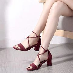 Stylish Solid Suede Chunky Sandals
