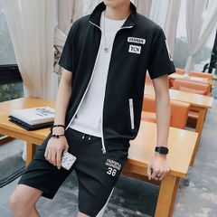 Summer Letter Short Sleeve Zipper Men Sport Suit