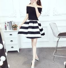 Off Shoulder Striped Fluffy Dresses Summer