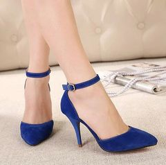 Fashion Popular Elegant Style Suede Sharp Toe One-buckle Solid Color Thin Heels