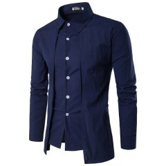 Personality Button Closed Asymmetric Shirts