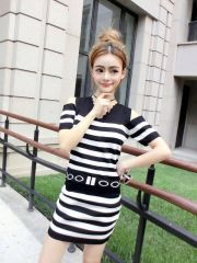 New Arrival V-Neck Off Shoulder Striped Sexy Knitting Suit
