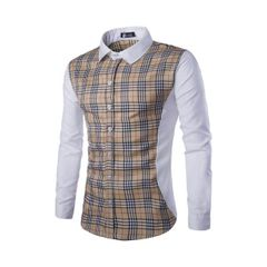 Korean Plaid Patchwork Turndown Collar Fashion Men Shirt