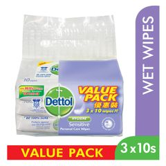 Dettol Sensitive Personal Care Wipes Value Pack 3 x 10 per pack