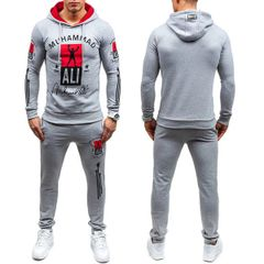 Street Letter Hooded Collar Men Sport Suit