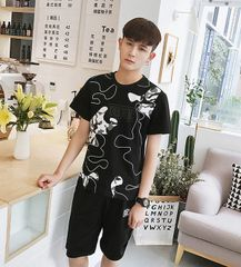 Casual Print O Neck Sport Men Suit