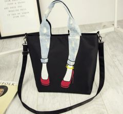 Unique Design Zipper Shoes Print Handle Bag
