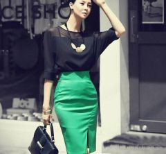 OL Style Women Chiffon Top Pencil Green Skirt