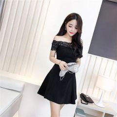 Korean Sweet Lace Patchwork Off Shoulder Slim Dress