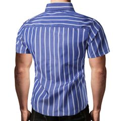 Stripe Single Breasted Turndown Collar Men Shirts