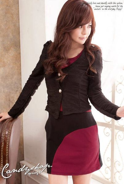 New Arrival Color Matching Short Sleeve Black Dress