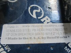 "Roadworks PB 15"" SS Rear Air Cleaner brackets 31200-11/RW31200-11"