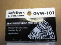 MS Carita Gross Vehicle Weight Decal Set GVW-101
