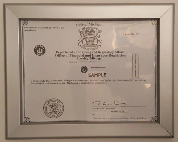 Business license frame state of MICHIGAN MI | YOUR OFFICIAL STORE ...