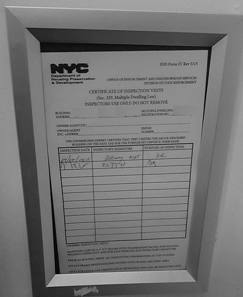 Hpd Certificate Of Inspection Visits Frame 6 X 9 Dob Signs Nyc
