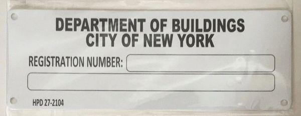 Hpd Building Registration Number Serial Number Signage