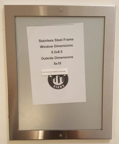 NYC ELEVATOR CERTIFICATE FRAME STAINLESS STEEL (6.5\'\' x 8.5 ...